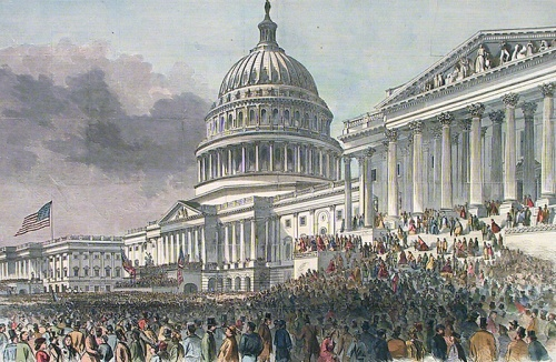 President Lincoln's Reinauguration at the Capitol. Hand-colored wood engraving published by Harper's Weekly, 1865.