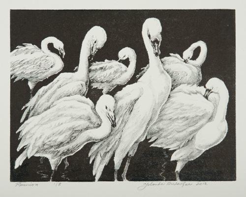 Reunion. By Yolanda Frederikse. Stone lithograph, 2011.