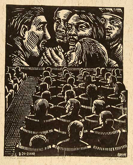 At the Movies. By Peter Gourfain. Woodcut, 2000. Artist's proof.