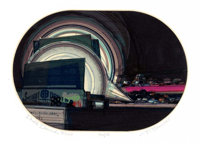 Double Drive-In Movie. Thomas Seawell. Silkscreen, 1980. Edition 35. At The Old Print Shop in NYC.