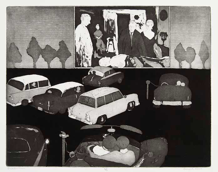 Drive In Movie. By Cheryl A. Aaron. Etching with aquatint, c.1989. Edition 40. At The Old Print Shop in NYC.