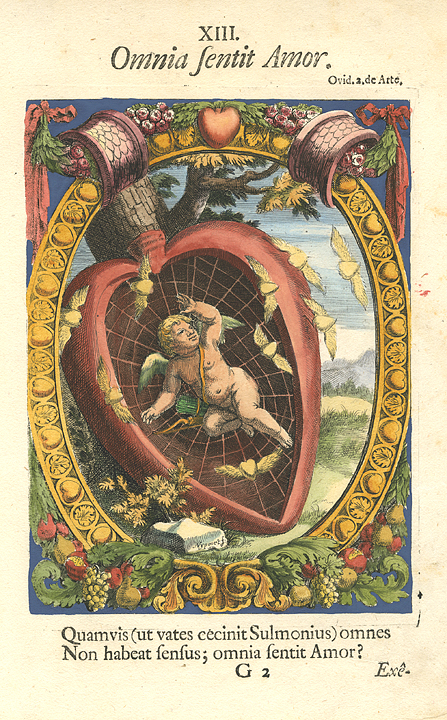 Omnia fentit Amor.  XIII. By A. Diepenbeke. Published Antwerp. Copper engraving, hand colored, 1660. 17th century Amorous Mottoes, with Latin inscriptions.