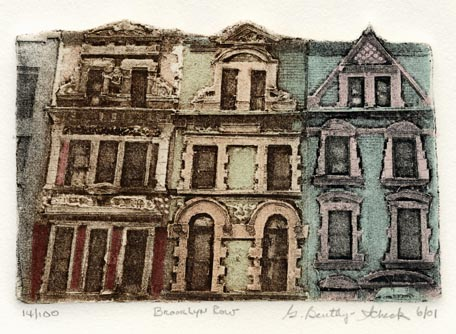 Brooklyn Row. Grace Bentley-Scheck. Collagraph, 2001. Edition 100.