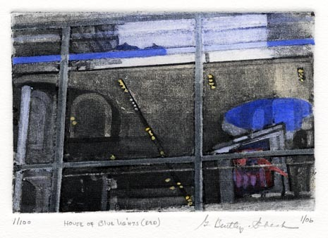 House of Blue Lights (Red). Grace Bentley-Scheck. Collagraph, 2006. Edition 100.