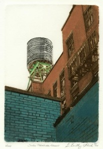 SoHo Structure-Green. Grace Bentley-Scheck. Collagraph, 2004. Edition 100.