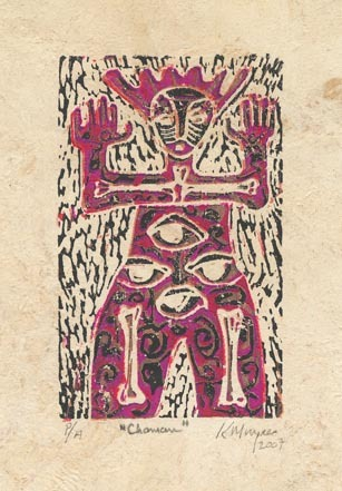 Chaman.  [Shaman.] Karima Muyaes. Color reduction linocut, 2007.