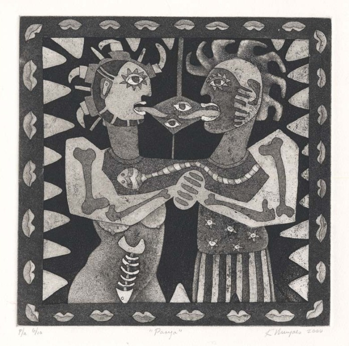 Pareja.  [Couple.] Karima Muyaes. Etching and aquatint, 2000.