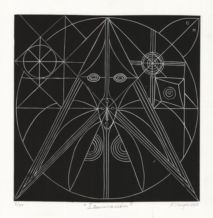 Iluminacion. [Enlightment.] Karima Muyaes. Linocut, 2011.