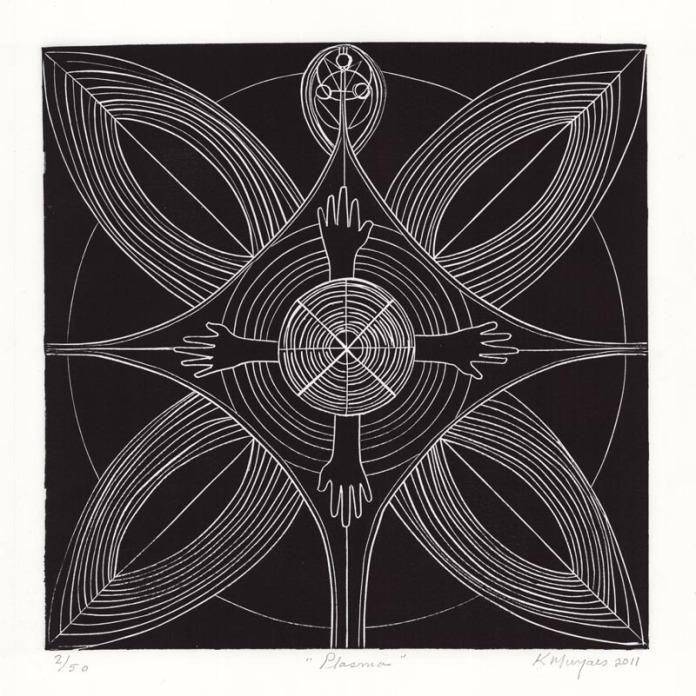 Plasma. Karima Muyaes. Linocut, 2011.