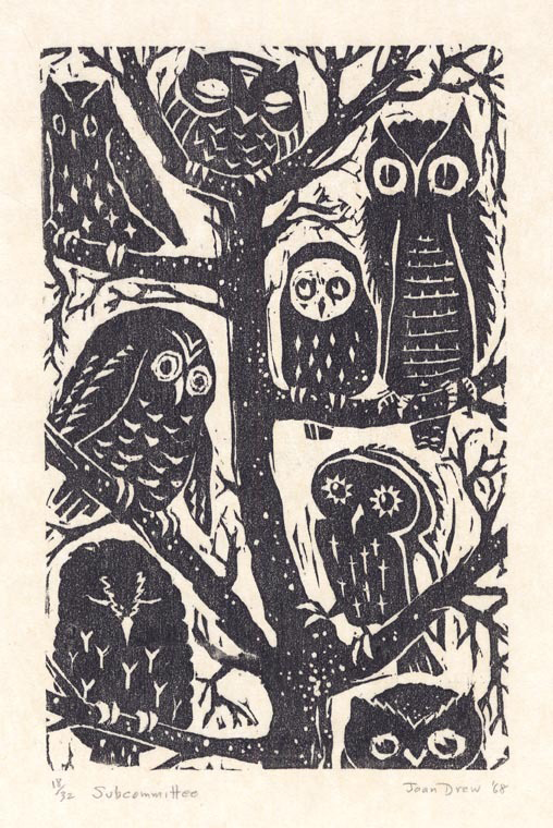 Subcommittee. Joan Drew. Woodcut, 1968. Edition 32. $350.00