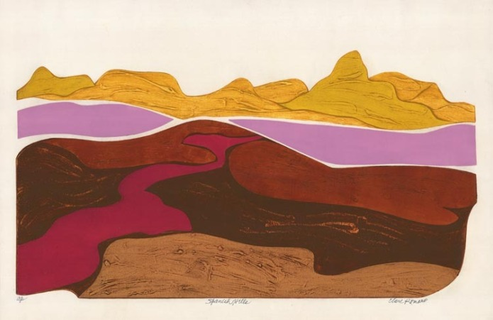 Spanish Hills.  [Nevada.] By Clare Romano. Collagraph, undated.