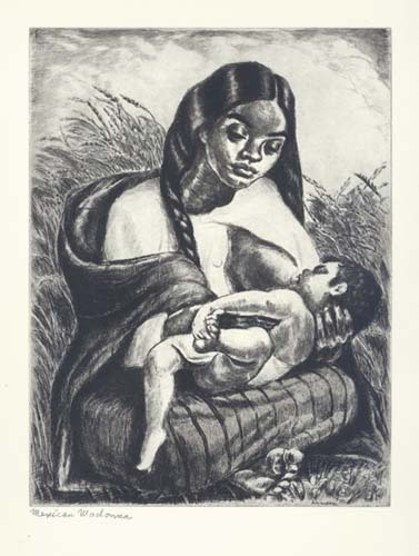 Mexican Madonna.  (Mexican Mother.) By Irwin D. Hoffman. Etching, 1944.