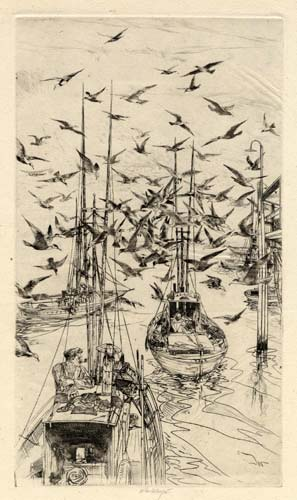 Boats and Gulls. By John W. Winkler. Etching, 1960.