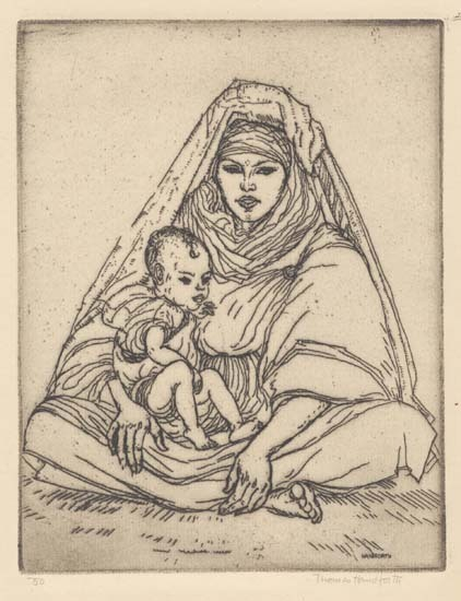 Chleuh Mother. By Thomas Handforth. Etching, 1928.