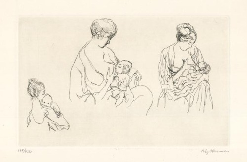 Mother and Child. Lily Harmon. Etching, c.1966.