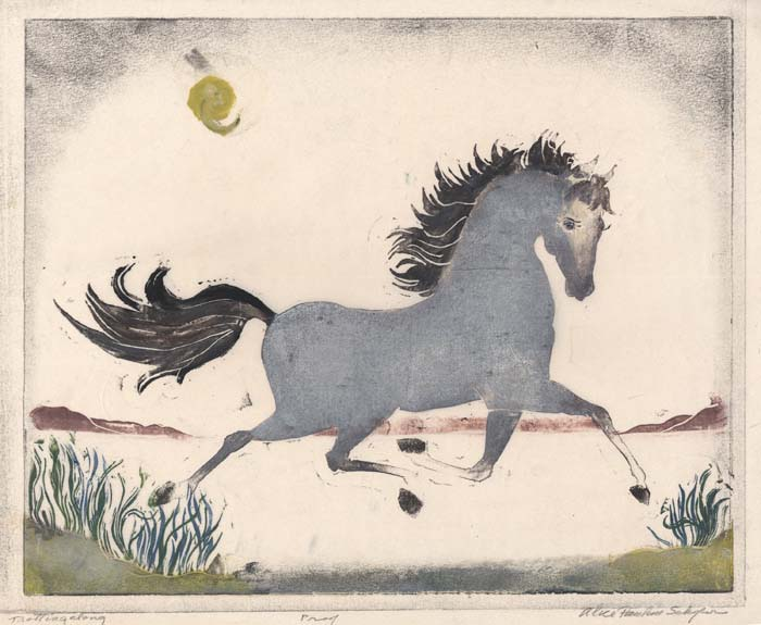 Trotting Along. By Alice P. Schafer. Color linoleum cut.