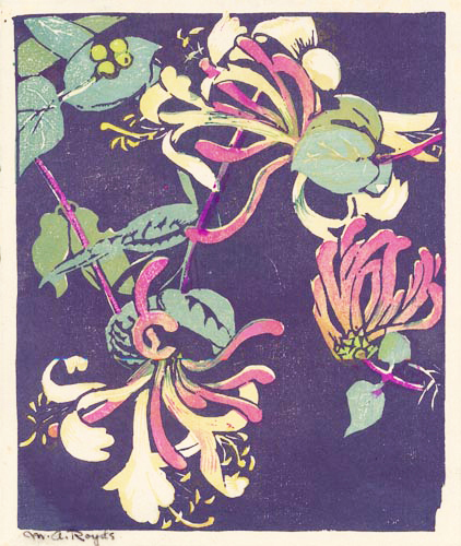 Honeysuckle. By Mabel A. Royds. Woodcut printed in color, 1935-38.
