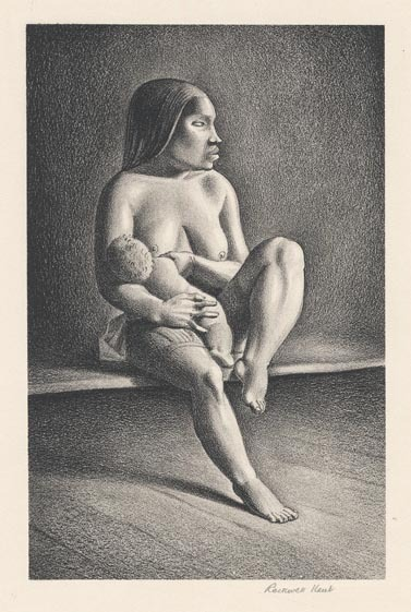 Greenland Mother Nursing Child. By Rockwell Kent. Lithograph, 1934.