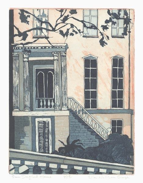 Sun Dappled House.  [Savannah, Georgia.] By Ellen Nathan Singer. Etching, 2008.
