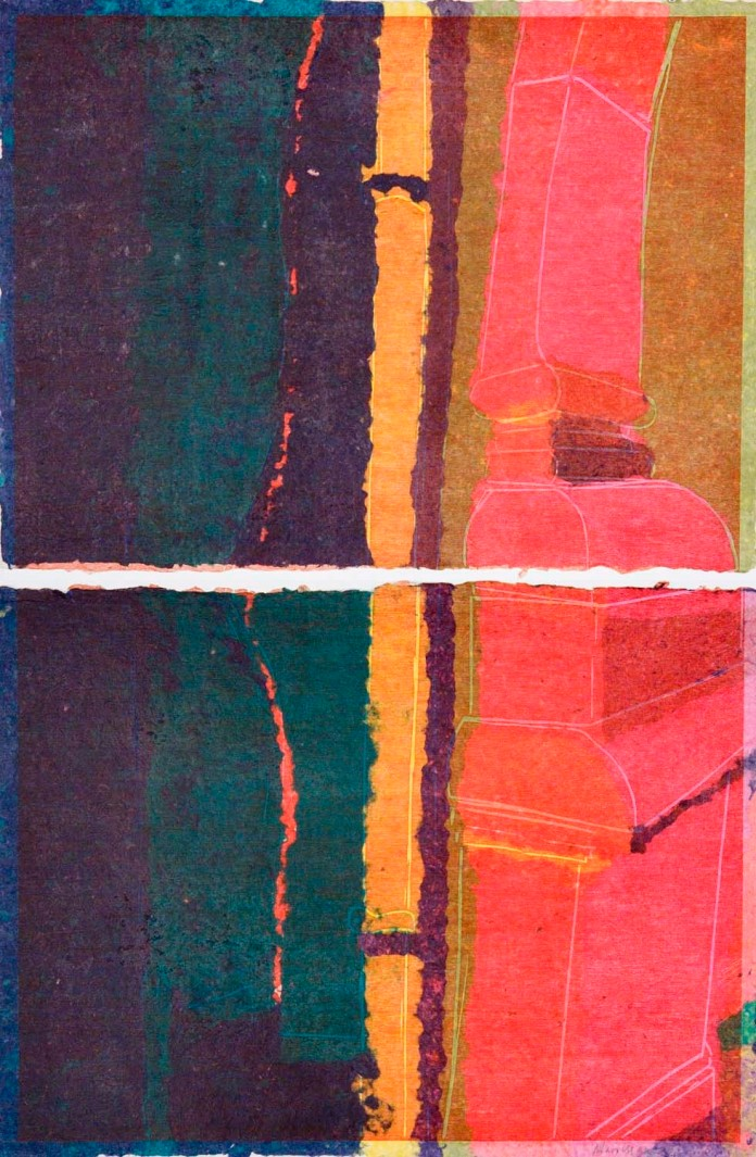 Oaxaca Column. [Two pieces stacked.]  Mary Manusos. Woodcut on handmade paper, 2010. Monoprint.