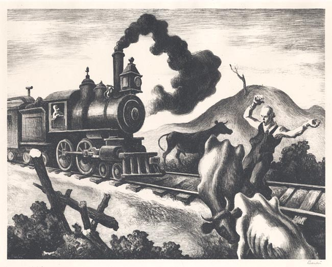 Slow Train through Arkansas. By Thomas Hart Benton. Circulated by Associated American Artists. Lithograph, 1941.