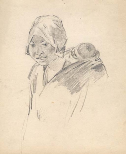 Japanese Mother and Child. Martin Lewis. Pencil drawing, undated c.1920.
