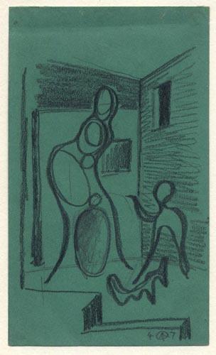 Mother & Child. Werner Drewes. Graphite on green paper, 1947.