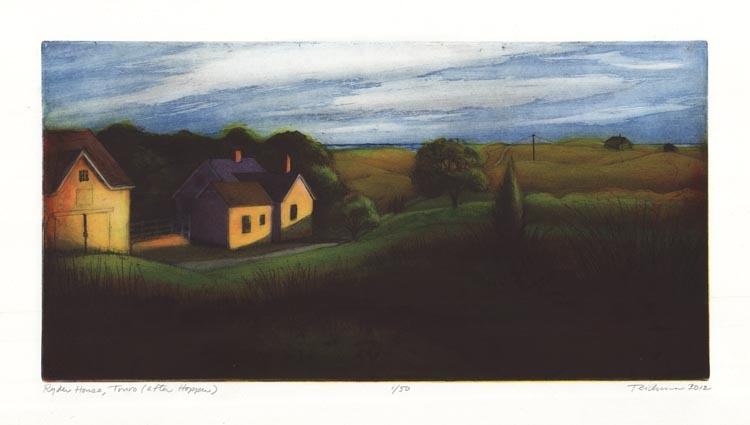 Ryder House, Truro (after Hopper). By Mary Teichman. Color etching and aquatint, 2012.