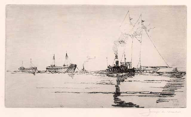 Yachts and Barges. By George C. Wales. Soft ground, 1920.