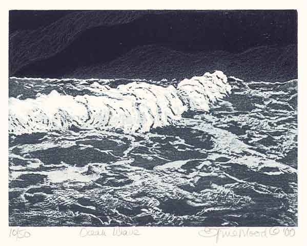 "Ocean Wave. by Emily Trueblood. Two-block woodcut, 2000. Image size 6 x 8"" (150 x 200 mm). Edition 50. Signed, titled, and dated in pencil. $150.00."