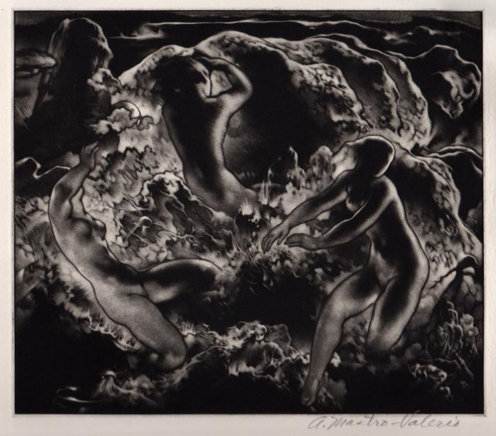 Day and Night. Alessandro Mastro-Valerio. Mezzotint, 1950. $525.00.