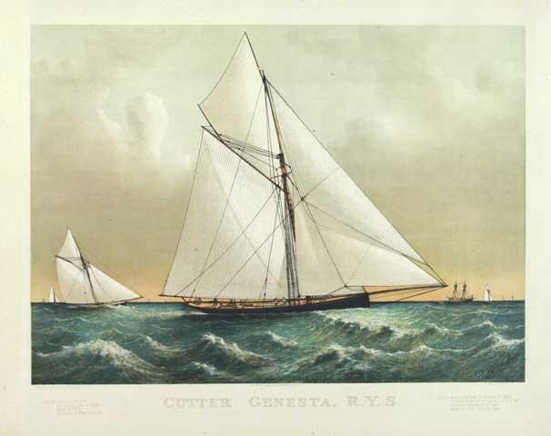 The Cutter Genesta, R.Y.S. By Charles Parsons. Published by Currier & Ives 115 Nassau St. New York. Lithograph printed in color, 1885.