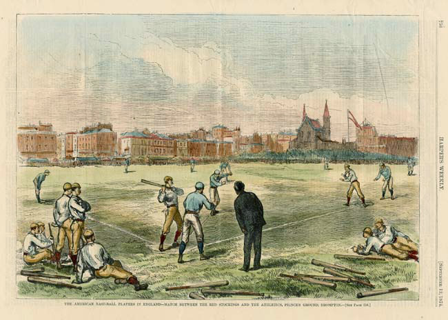 The American Base-Ball Players in England, Match between  the Red Stockings and the Athletics, Prince's Ground. Published in Harper's Weekly. Full page handcolored wood engraving, Sept. 12, 1874. $250.00