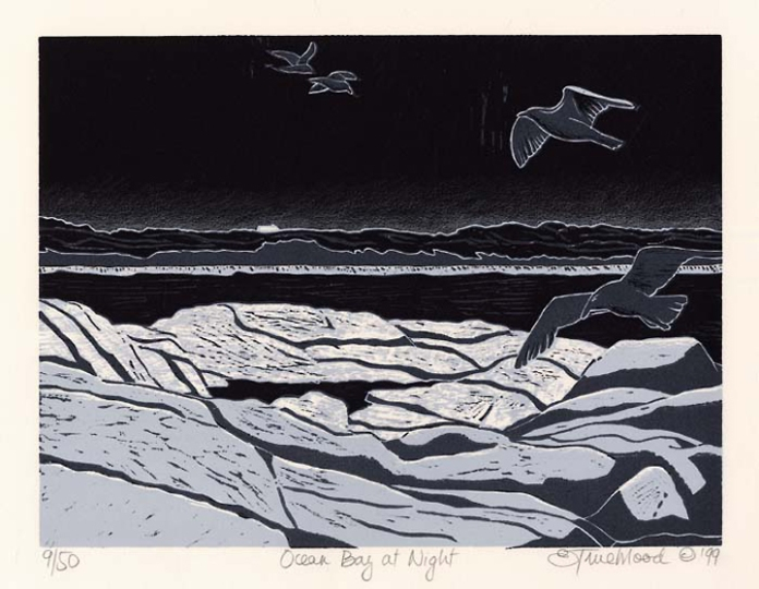 "Ocean Bay at Night. By Emily Trueblood. Two-block woodcut, 1999. Image size 8 7/8 x 11 15/16"" (226 x 303 mm). Edition 50. Signed, titled, and dated in pencil. $200.00"