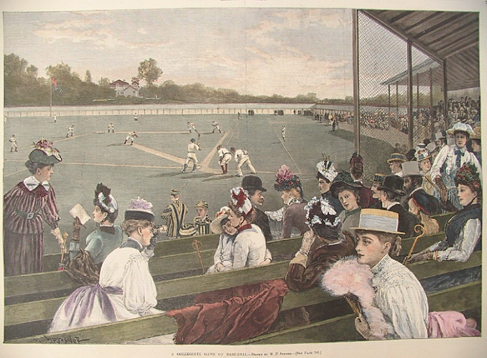 A Collegiate Game of Base-Ball. By W. P. Snyder. Published in Harper's Weekly, New York. Wood engraving, hand colored, Aug. 31, 1889. A view of a baseball game in progress from the stands behind home plate. $600.00