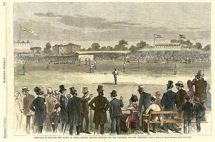 "Base-Ball in England - The Match on Lord's Cricket Grounds between the Red Stocking and the Athletics. By Abner Crossman. Published in Harper's Weekly. Wood engraving, 1874. The U.S. and British flag are flying and a large white banner that states: ""Champions of the United States."" $120.00"