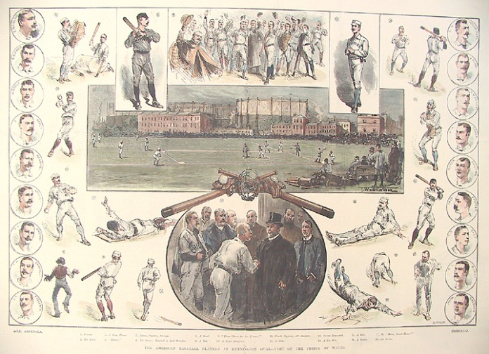 The American Baseball Players at Kennington Oval - Visit of the Prince of Wales. By T. Walker Wilson. Published in The Illustrated London News. Wood engraving, hand colored,  March 23, 1889. Complicated composite of players in various actions situated around a central view of the game betwen the All-American and Chicago teams, whose members are shown on either side. $385.00