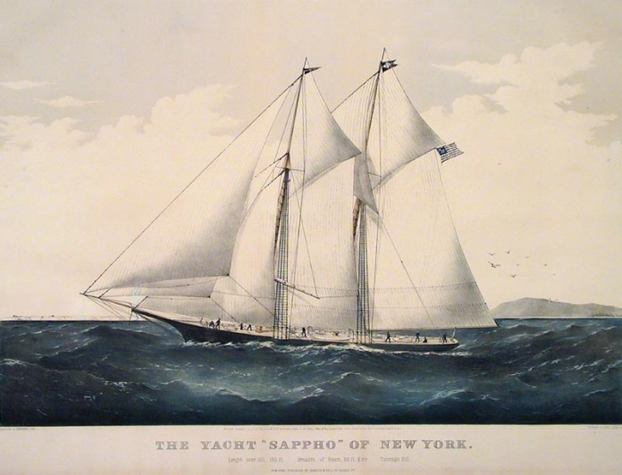 "The Yacht ""Sappho"" of New York. By Charles Parsons. Published by Currier & Ives, 115 Nassau St. New York. Lithograph, handcolored, 1869."