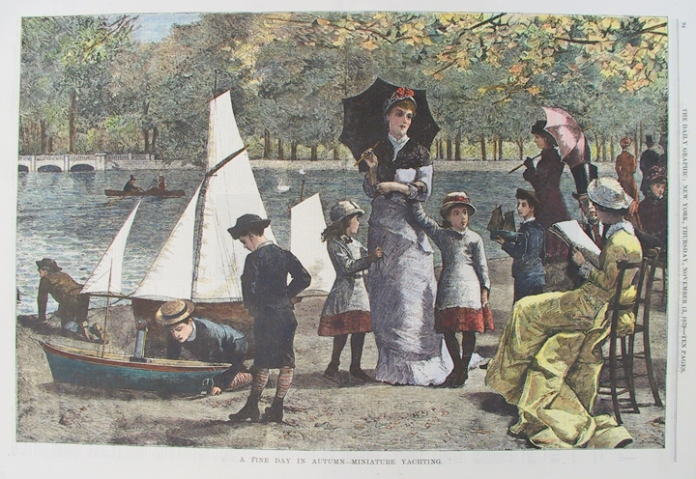 A Fine Day in Autumn - Miniature Yachting. Published in The Daily Graphic, New York. Wood engraving, hand colored, Nov. 13, 1879.