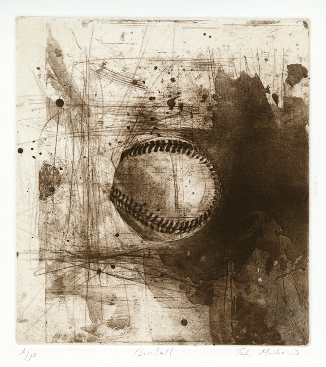 "Baseball.  By Jake Muirhead. Etching, aquatint & drypoint, 2010. Inscribed, ""A/P."" $400.00."