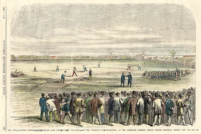 The Great Contest Between the Atlantic Base Ball Club of Brooklyn and the Athletics of Philedelphia, at the Capitoline Grounds, Fulton Avenue, Brooklyn, Monday, Oct. 16th. Published in Frank Leslie's Illustrated Newspaper. Wood engraving, Nov. 3, 1866. A lively scene of baseball between a Brooklyn and a Philadelphia team. Spectators surrond the playing field. $120.00