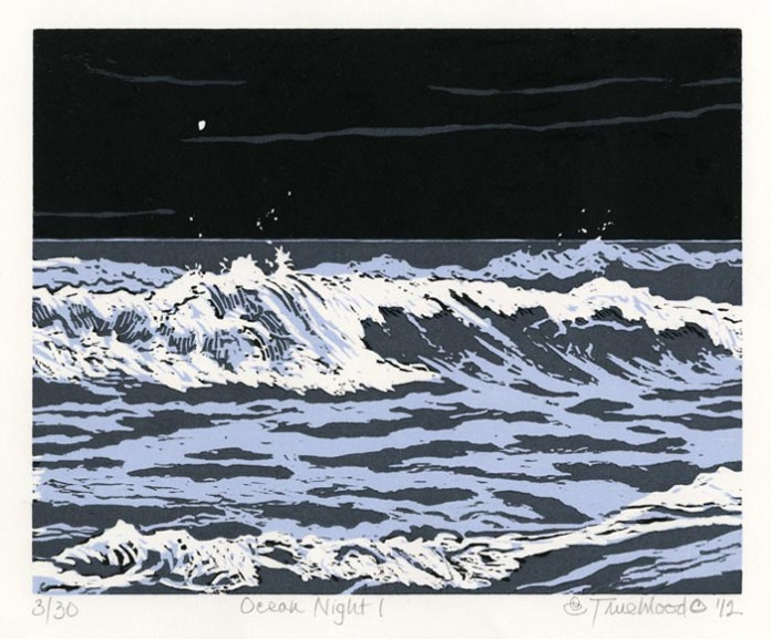 "Ocean Night 1. Emily Trueblood. Woodcut, 2012. Image size 7 15/16 x 9 15/16"" (202 x 256 mm). Edition 30. Signed, titled, and dated in pencil. $175.00."