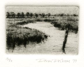 Wetland I. Deron DeCesare.  Drypoint, 1999. Edition 50. $115.00