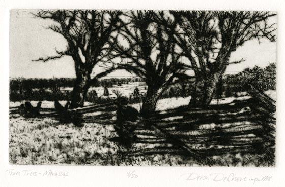 Three Trees - Manassas. Deron DeCesare. Drypoint, 1998. Edition 50. $175.00