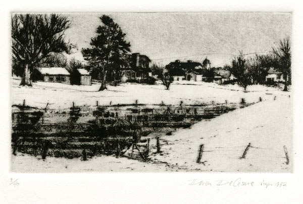 Farm by a Pond in Winter. Deron DeCesare. Drypoint, 1992. Edition 40. $175.00