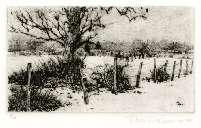 Tree in a Snowy Pasture. Deron DeCesare. Drypoint, 1992. Edition 40. $175.00.