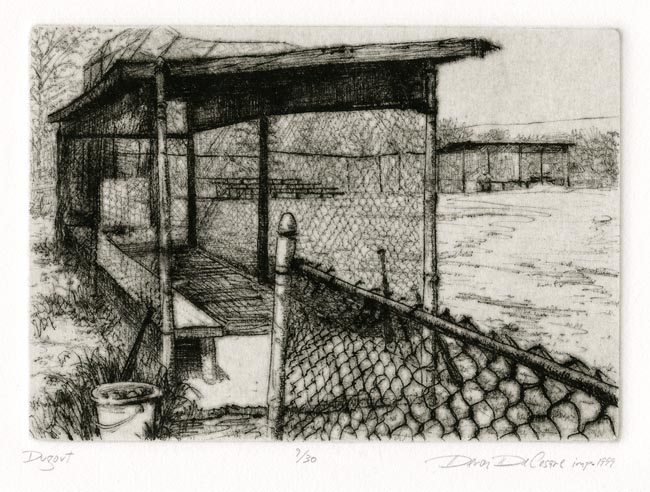 Dugout. By Deron DeCesare. Drypoint, 1999. Edition 30. $175.00.