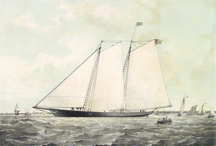To the Commodore & Members of the New-York Yacht Club, this Print of the YACHT AMERICA (Modelled & Built by Geo. Steers, Esq. Of New-York,) is respectfully dedicated.  Published by Brown & Severin, New York. Two-stone lithograph, 1851.