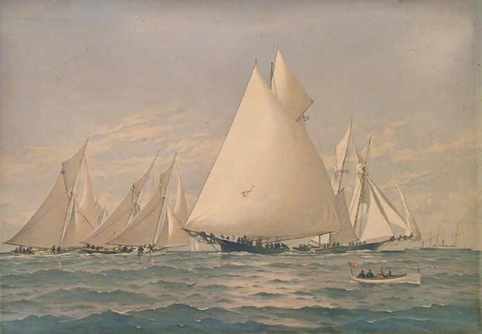 In Down East Waters  Boston Bay. By Fred S. Cozzens. Published by Charles Scribner's Sons, New York. Chromolithograph, 1884.