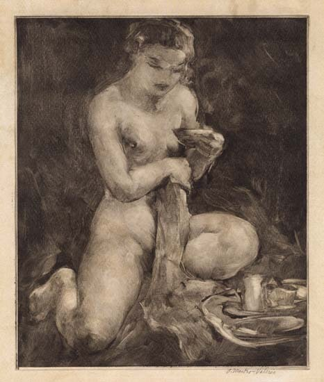 Nude with Breakfast Tray. Alessandro Mastro-Valerio. Monoprint, c.1940. $1,600.00